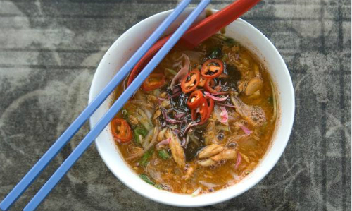 7. Penang assam laksa, Malaysia  One of Malysias most popular dishes, its full of noodles, mackerel, chilli and brothy goodness.