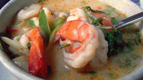 8. Tom yum goong, Thailand  Described by CNN as a Thai masterpiece teeming with shrimp, mushrooms, tomatoes, lemongrass, galangal and Kaffir lime leaves, its a hearty soup that features a range of favourite tastes such as salty, spicy, sour and sweet.